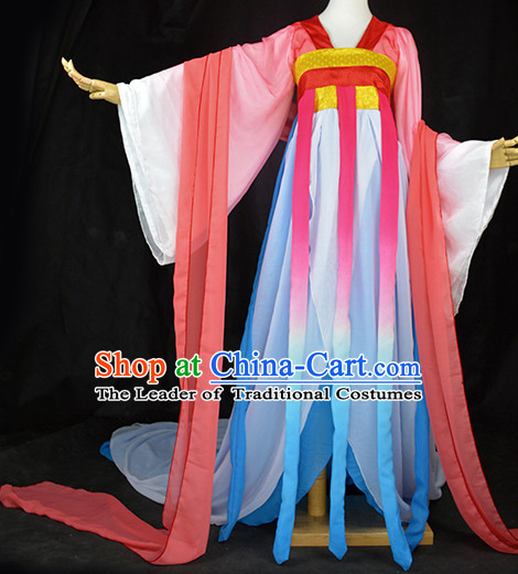 Traditional Chinese Classical Fairy Costumes Complete Set with Long Tail