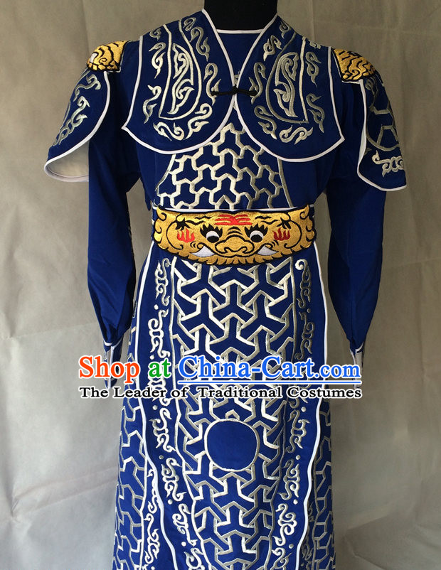Ancient Chinese General Embroidered Opera Costumes Complete Set for Men