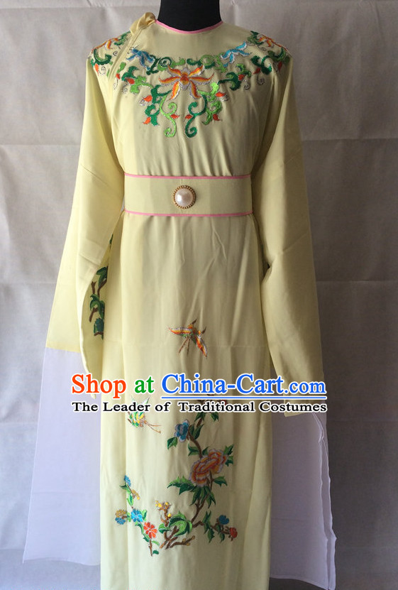 Ancient Chinese Opera Embroidered Flower Water Sleeve Costumes Complete Set for Men