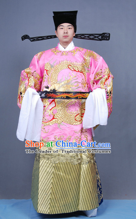 Ancient Chinese Opera Embroidered Dragon Official and Hat Complete Set for Men