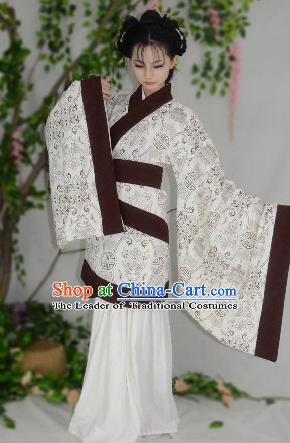 Ancient Chinese Han Dynasty Hanfu Clothes and Hair Accessories Complete Set for Women