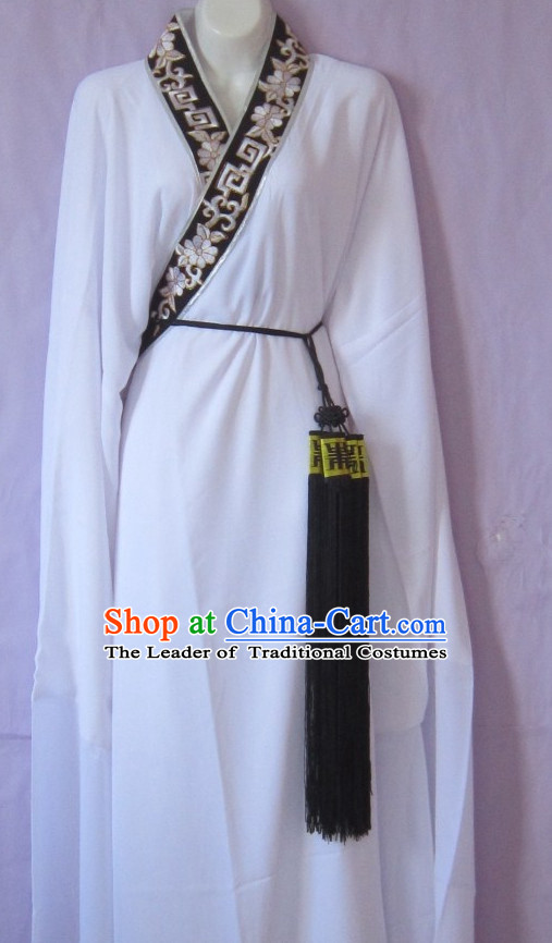 Ancient Chinese Long Sleeves White Hanfu Dress for Men