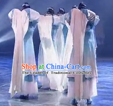 Chinese Classical Water Sleeve Shuixiu Dance Costumes and Headpieces Complete Set for Women