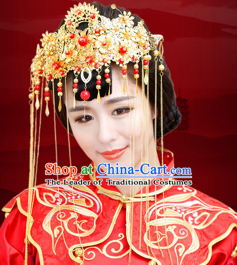 Traditional Chinese Princess Brides Wedding Headpieces Phoenix Crown Coronet Decorations