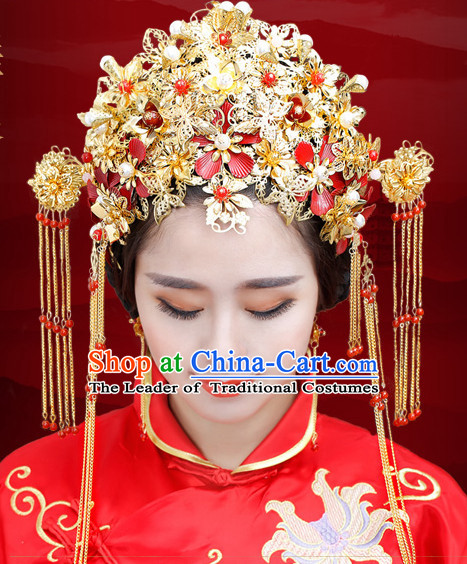 Traditional Chinese Princess Brides Wedding Headpieces Hair Jewelry Decorations Hairpins Phoenix Crown