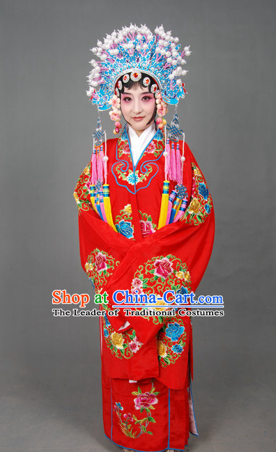 Ancient Chinese Opera Wedding Dress and Phoenix Coronet Complete Set for Brides