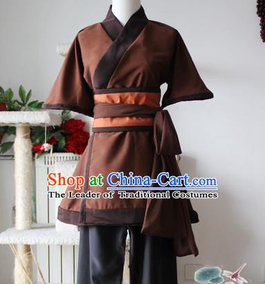 Chinese Ancient Farmer Civilian Costume Complete Set for Adults Kids Men Boys