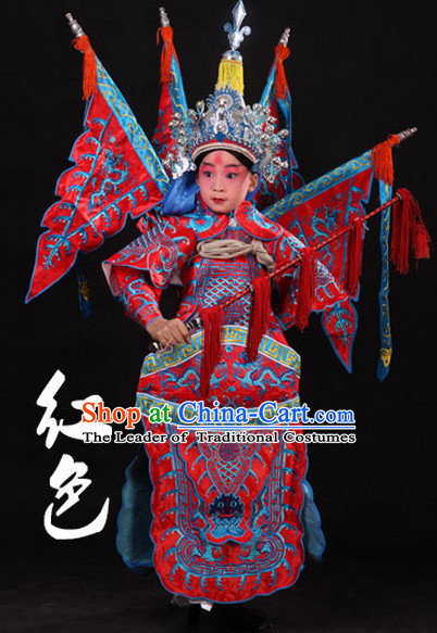 Red Chinese Classic Peking Opera Costume Beijing Opera Costumes Wusheng Armor Complete Set for Adults Kids Men Boys
