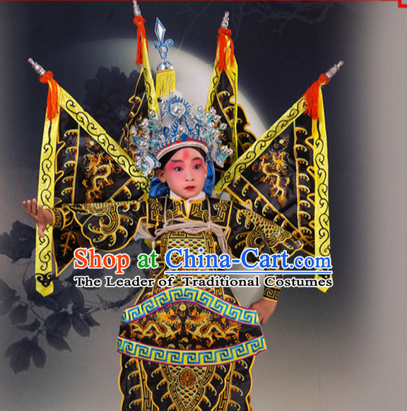 Black Chinese Classic Peking Opera Costume Beijing Opera Costumes Wusheng Armor Complete Set for Adults Kids Men Boys