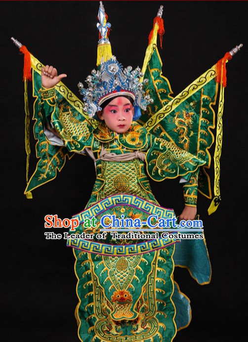 Green Chinese Classic Peking Opera Costume Beijing Opera Costumes Wusheng Armor Complete Set for Adults Kids Men Boys