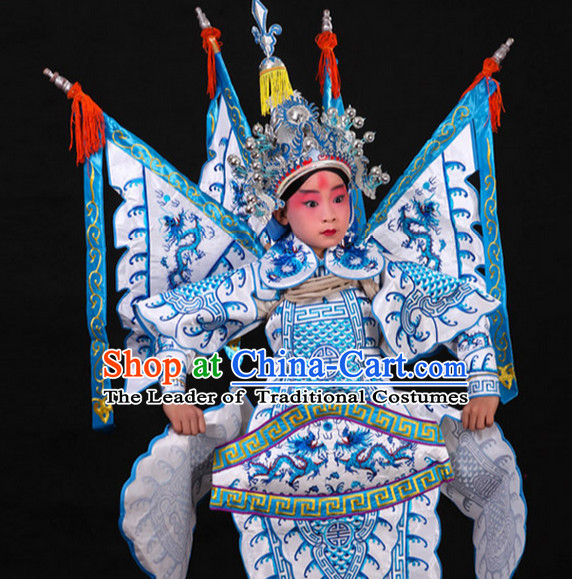 White Chinese Classic Peking Opera Costume Beijing Opera Costumes Wusheng Armor Complete Set for Adults Kids Men Boys