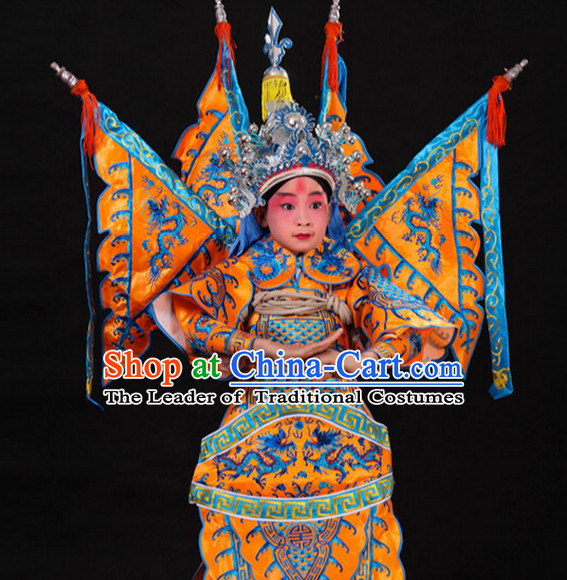 Yellow Chinese Classic Peking Opera Costume Beijing Opera Costumes Wusheng Armor Complete Set for Adults Kids Men Boys