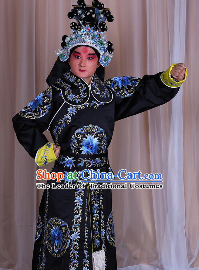 Embroidered Chinese Classic Peking Opera Wusheng Costume Beijing Opera Military Character Costumes Complete Set for Adults Kids Men Girls