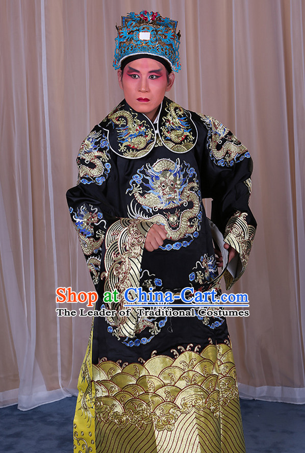 Embroidered Chinese Classic Peking Opera Long Mang Dragon Robe Costume Beijing Opera Official Costumes Complete Set for Adults Kids Men Boys