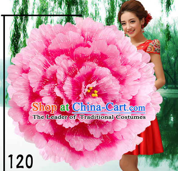 47 Inches Yellow Professional Stage Performance Large Peony Flower Umbrella