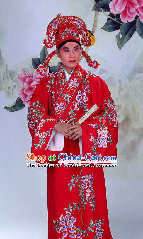Top Embroidered Chinese Classic Peking Opera Young Scholar Costume Beijing Opera Robe Costumes Complete Set for Adults Kids