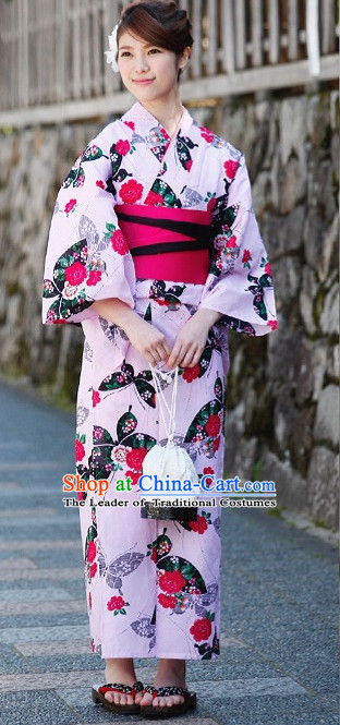 Traditional Japanese Kimono Fashion Furisode Yukata Clothing Stain Robe Dress online Complete Set for Women