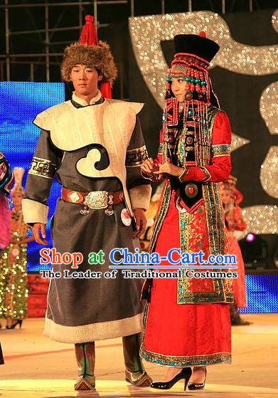 Mongolian Prince and Princess Clothing and Hats 2 Complete Sets for Men and Women