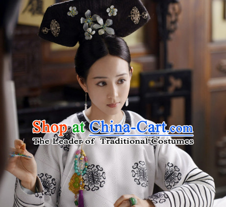 Qing Dynasty Manchu Wigs and Head Wear Headpieces