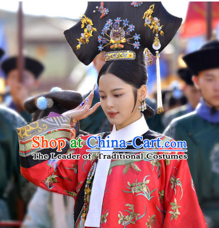 Qing Dynasty Manchu Empress Wigs and Head Wear Headpieces