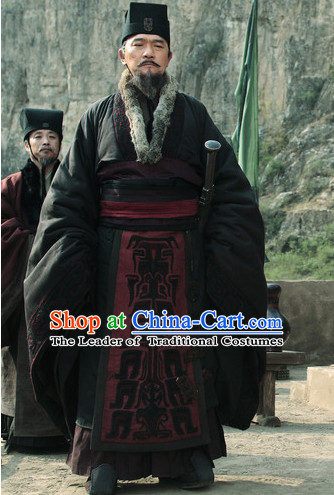 Ancient Chinese Government Official Prime Minster Costumes Garment Clothing and Hat Complete Set for Men