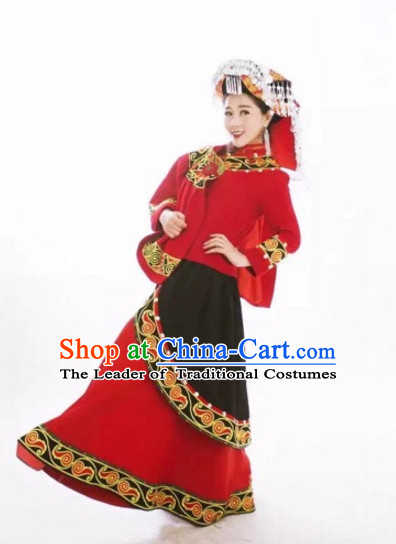 Chinese Folk Ethnic Traditional Suits and Hat Complete Set for Women