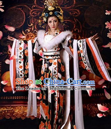 Chinese Ancient Tang Dynasty Empress Crane Dresses and Hair Accessories Complete Set