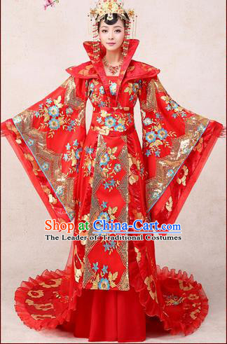 Ancient Chinese Palace Empress Costumes Complete Set, Tang Dynasty, Hanfu, Ancient Palace Princess Wedding Red Dress Suits For Women