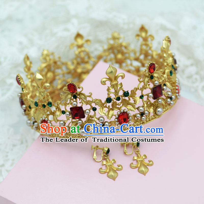 Traditional Jewelry Accessories, Princess Bride Royal Crown, Wedding Hair Accessories, Baroco Style Crystal Headwear and Earrings for Women