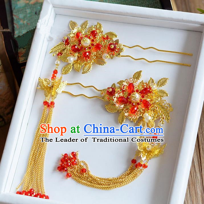Chinese Ancient Style Hair Jewelry Accessories, Hairpins, Princess Hanfu Xiuhe Suit Wedding Bride Hair Accessories, Headwear for Women