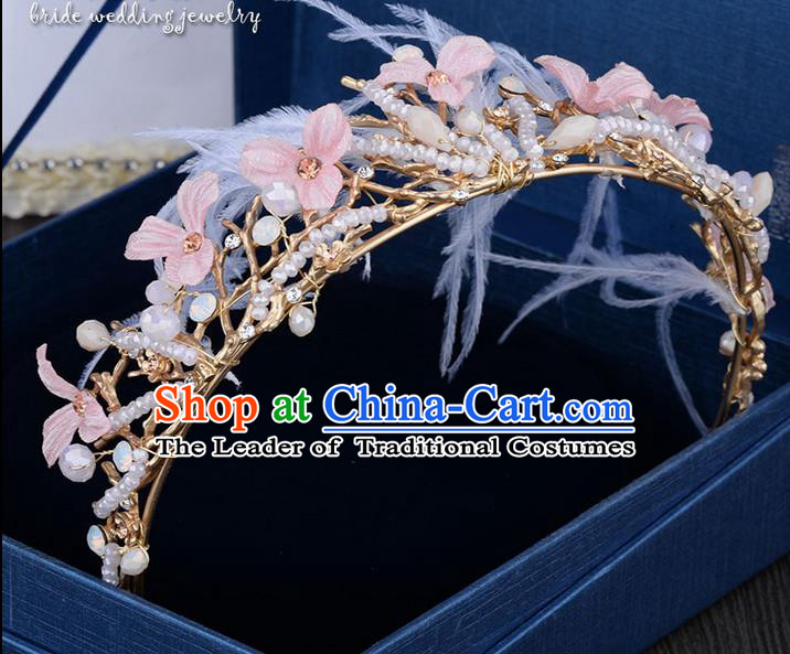 Traditional Jewelry Accessories, Princess Wedding Hair Accessories, Bride Wedding Hair Accessories, Baroco Style Feather Pearl Headwear for Women