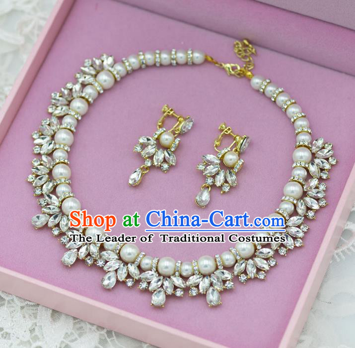 Traditional Wedding Jewelry Accessories, Palace Princess Bride Accessories, Engagement Necklaces, Wedding Earring, Baroco Style Pearl Crystal Necklace Set for Women