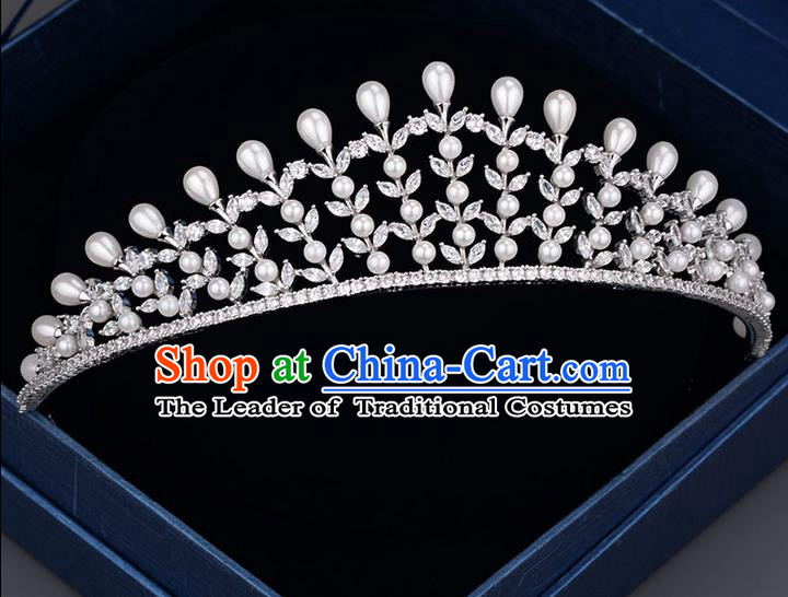 Traditional Jewelry Accessories, Palace Princess Bride Royal Crown, Imperial Royal Crown, Wedding Hair Accessories, Baroco Style Crystal Zircon Headwear for Women