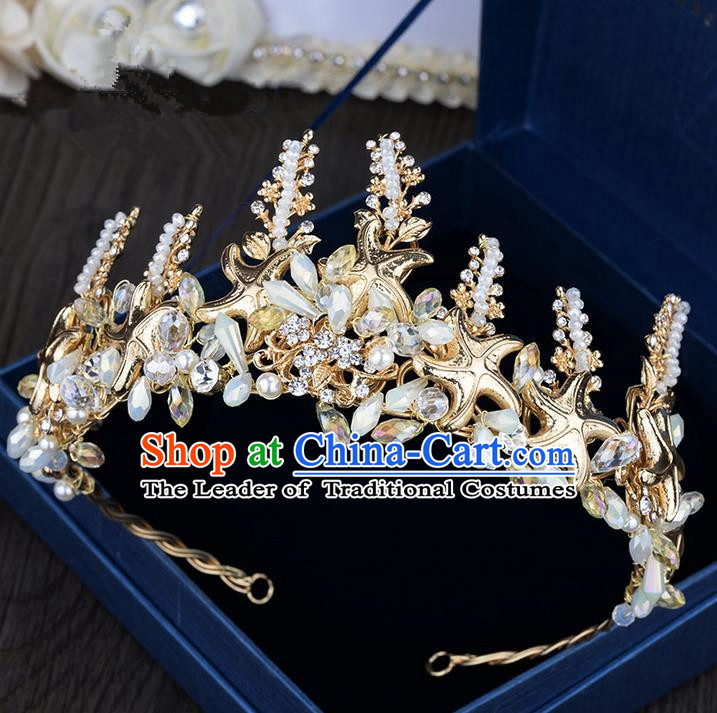 Traditional Jewelry Accessories, Palace Princess Bride Royal Crown, Imperial Royal Crown, Wedding Hair Accessories, Baroco Style Crystal Pearl Headwear for Women