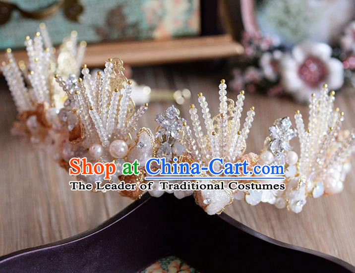 Traditional Jewelry Accessories, Palace Princess Bride Royal Crown, Imperial Royal Crown, Wedding Hair Accessories, Baroco Style Coral Zircon Headwear for Women
