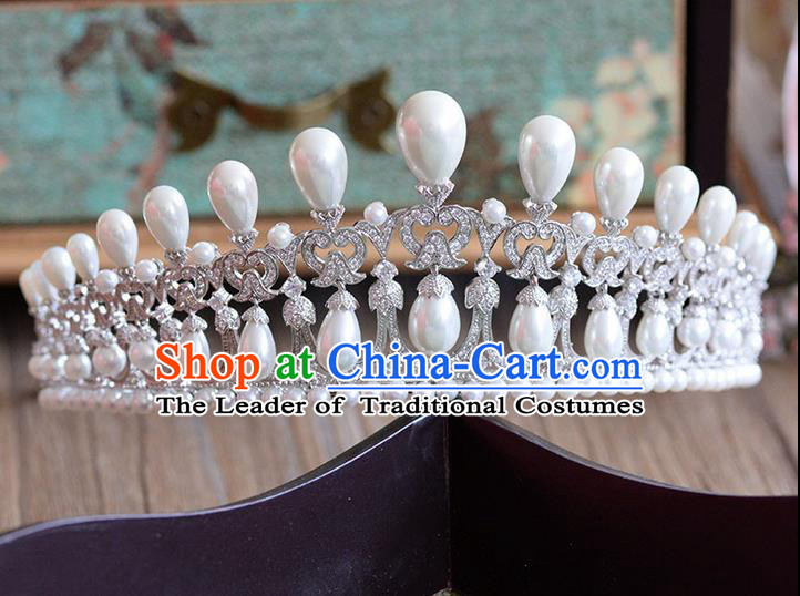 Traditional Jewelry Accessories, Palace Princess Bride Royal Crown, Imperial Royal Crown, Wedding Hair Accessories, Baroco Style Zircon Pearl Headwear for Women