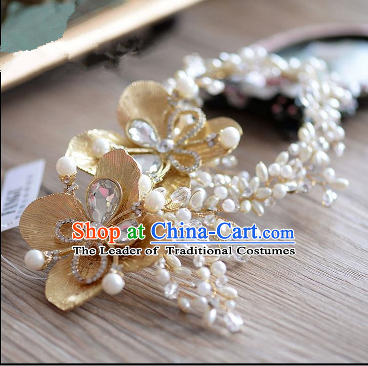 Traditional Jewelry Accessories, Princess Hair Accessories, Bride Wedding Hair Accessories, Headwear, Baroco Style Pearl Crystal Hair Claw for Women