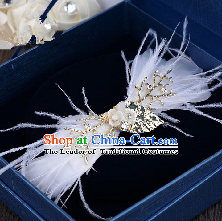 Traditional Jewelry Accessories, Princess Hair Accessories, Bride Wedding Hair Accessories, Baroco Style Feather Headwear for Women