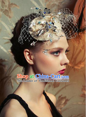 Traditional Jewelry Accessories, Princess Hair Accessories, Bride Wedding Hair Accessories, Hat, Baroco Style Hats Veil for Women