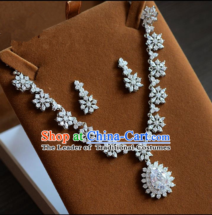Traditional Jewelry Accessories, Princess Accessories, Bride Wedding Jewelry, Zircon Earrings, Baroco Style Necklace Set  for Women
