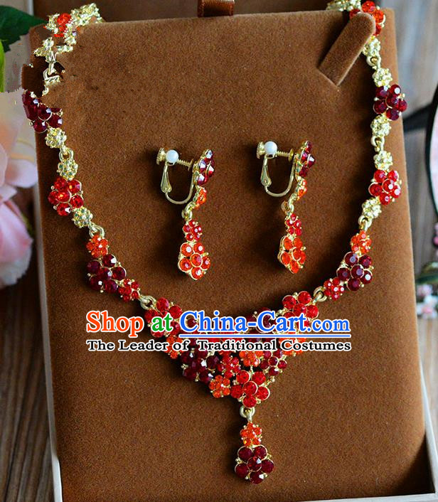 Traditional Jewelry Accessories, Palace Princess Wedding Accessories, Baroco Style Crystal Earrings and Necklace for Women