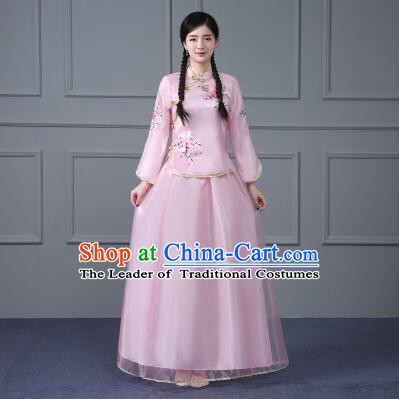 Chinese Traditional Girl Dress Min Guo Time Female Women Clothing Nobel Lady Pink