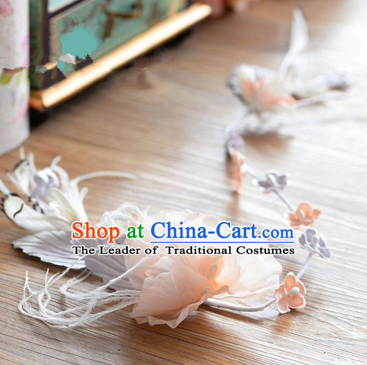 Traditional Jewelry Accessories, Princess Wedding Hair Accessories, Bride Wedding Hair Accessories, Headwear, Baroco Style Handmade Feather Flowers Hair Claw for Women