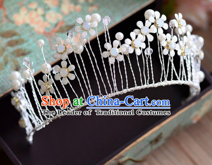 Traditional Jewelry Accessories, Palace Princess Bride Royal Crown, Engagement Royal Crown, Wedding Hair Accessories, Baroco Style Opal Flowers Headwear for Women