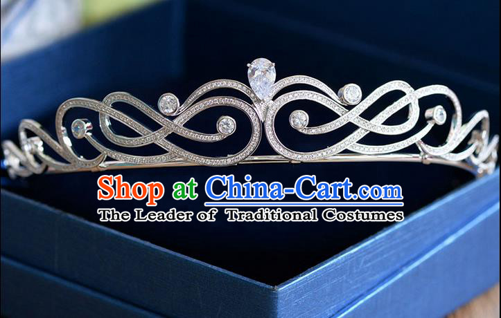 Traditional Jewelry Accessories, Palace Princess Bride Royal Crown, Engagement Royal Crown, Wedding Hair Accessories, Baroco Style Crystal Zircon Headwear for Women
