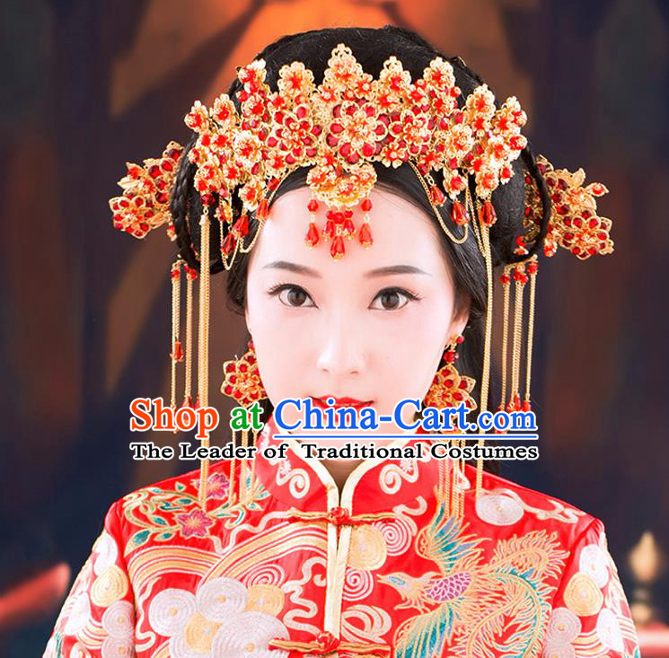 Chinese Ancient Style Hair Jewelry Accessories, Hairpins, Hanfu Xiuhe Suits Wedding Bride Headwear, Headdress, Imperial Empress Handmade Hair Fascinators for Women