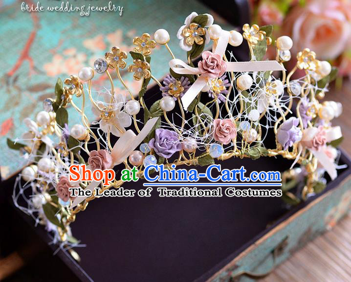 Traditional Jewelry Accessories, Palace Princess Bride Royal Crown, Engagement Royal Crown, Wedding Hair Accessories, Baroco Style Flowers Headwear for Women