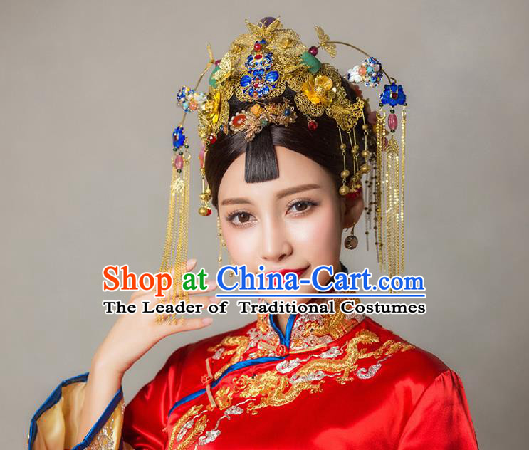 Chinese Ancient Style Hair Jewelry Accessories, Hairpins, Hanfu Xiuhe Suits Wedding Bride Headwear, Headdress, Imperial Empress Handmade Cloisonn Hair Fascinators Set for Women
