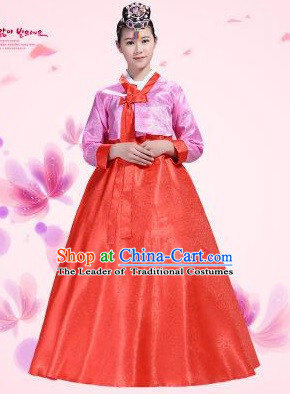 Korean Traditional Costumes Bride Dress Wedding Clothes Korean Full Dress Formal Attire Ceremonial Dress Court Stage Dancing Pink Top Red Skirt