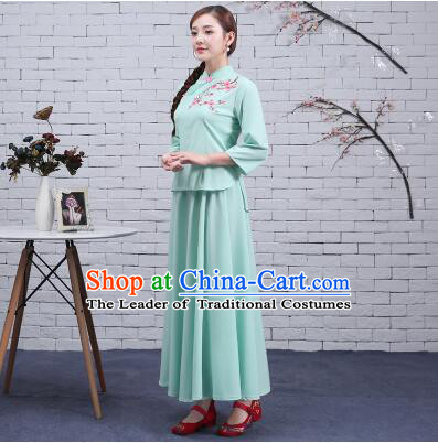 Chinese Traditional Women Clothes Green Min Guo Time Girl Women Clothing Stage Costumes Show